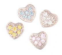 Hearts - Silver & CZ Charms